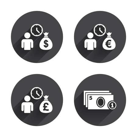 borrow: Bank loans icons. Cash money bag symbols. Borrow money sign. Get Dollar money fast. Circles buttons with long flat shadow. Vector Illustration