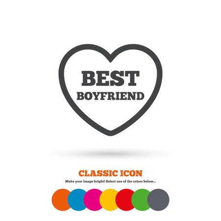 kumpel: Bester Freund-Zeichen-Symbol. Herz Liebe Symbol. Klassische Flach Symbol. Farbige Kreise. Vector