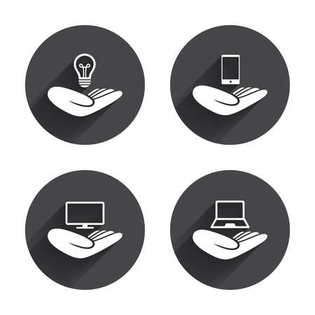 intellectual: Helping hands icons. Intellectual property insurance symbol. Smartphone, TV monitor and pc notebook sign. Device protection. Circles buttons with long flat shadow. Vector