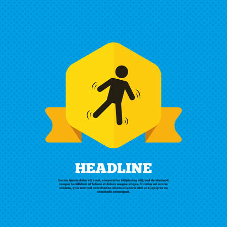 falling man: Man falls sign icon. Falling down human symbol. Caution slippery. Yellow label tag. Circles seamless pattern on back. Vector Illustration