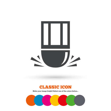 erase: Eraser icon. Erase pencil line symbol. Correct or Edit drawing sign. Classic flat icon. Colored circles. Vector Illustration