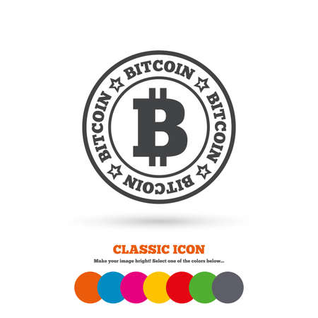 cryptography: Bitcoin sign icon. Cryptography currency symbol. P2P. Classic flat icon. Colored circles. Vector Illustration