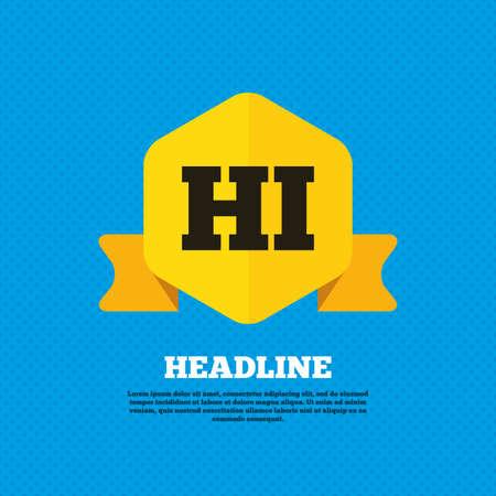 hindi: Hindi language sign icon. HI India translation symbol. Yellow label tag. Circles seamless pattern on back. Vector