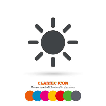 solarium: Sun sign icon. Solarium symbol. Heat button. Classic flat icon. Colored circles. Vector