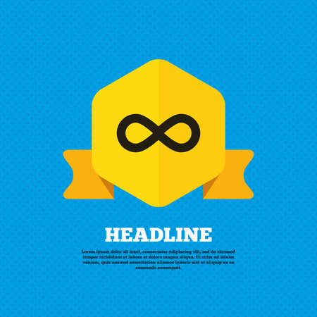 eternally: Limitless sign icon. Infinity symbol. Yellow label tag. Circles seamless pattern on back. Vector