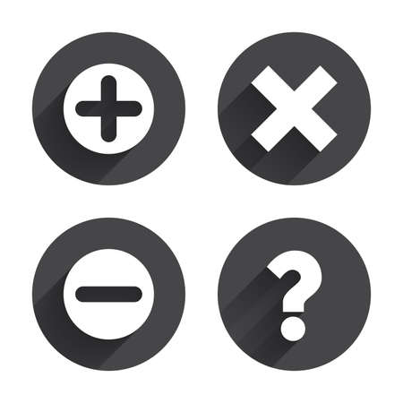 enlarge: Plus and minus icons. Delete and question FAQ mark signs. Enlarge zoom symbol. Circles buttons with long flat shadow. Vector
