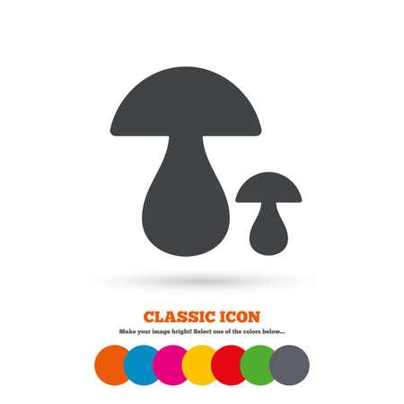 button mushroom: Mushroom sign icon. Boletus mushroom symbol. Classic flat icon. Colored circles. Vector Illustration