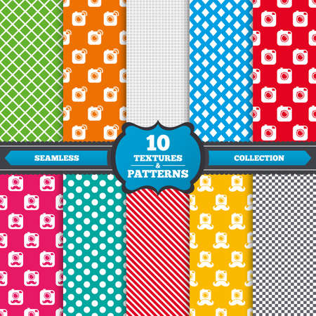hair pins: Seamless textures. Hipster photo camera with mustache icons. Retro camera symbols. Endless patterns with circles, diagonal lines, chess cell. Vector Illustration