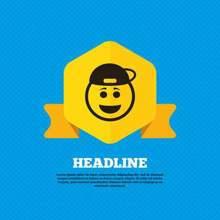 lachendes gesicht: Lächeln Rapper Gesicht Schild-Symbol. Glücklicher smiley mit Frisur Chat-Symbol. Yellow Label-Tag. Kreise nahtlose Muster auf dem Rücken. Vektor