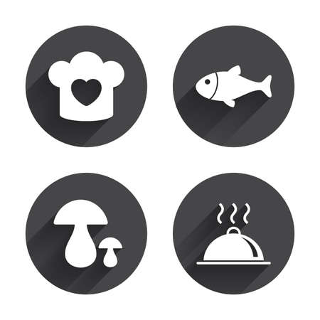 food plate: Chief hat with heart and cooking pan icons. Fish and boletus mushrooms signs. Hot food platter serving symbol. Circles buttons with long flat shadow. Vector