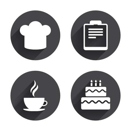 Coffee Cup Icon Chef Hat Symbol Birthday Cake Signs Document