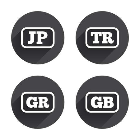 tr: Language icons. JP, TR, GR and GB translation symbols. Japan, Turkey, Greece and England languages. Circles buttons with long flat shadow. Vector