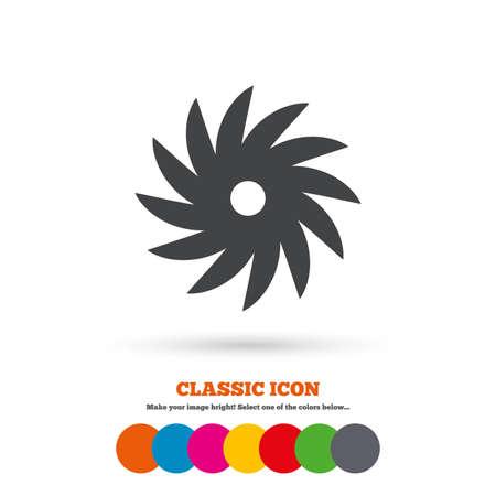 cutting blade: Saw circular wheel sign icon. Cutting blade symbol. Classic flat icon. Colored circles. Vector Illustration