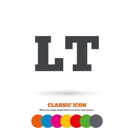 lt: Lithuanian language sign icon. LT translation symbol. Classic flat icon. Colored circles. Vector Illustration