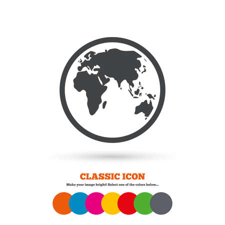 Globe sign icon. World map geography symbol. Classic flat icon. Colored circles. Vector