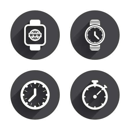 digital clock: Smart watch with internet icons. Mechanical clock time, Stopwatch timer symbols. Wrist digital watch sign. Circles buttons with long flat shadow. Vector