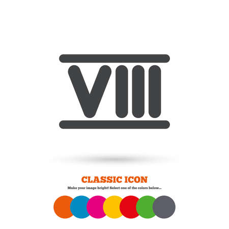 numeral: Roman numeral eight sign icon. Roman number eight symbol. Classic flat icon. Colored circles. Vector