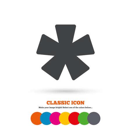 Asterisk voetnoot teken icoon. Star noot symbool voor meer informatie. Classic flat icoon. Gekleurde cirkels. Vector