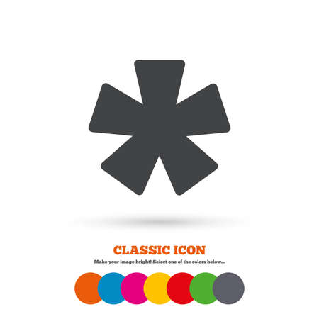 Asterisk footnote sign icon. Star note symbol for more information. Classic flat icon. Colored circles. Vector