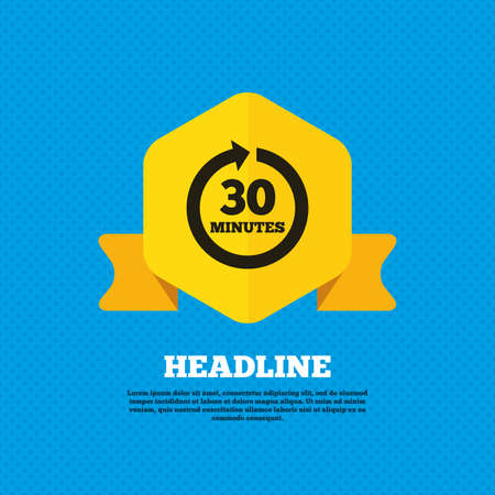 every: Every 30 minutes sign icon. Full rotation arrow symbol. Yellow label tag. Circles seamless pattern on back. Vector