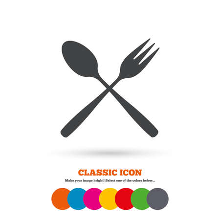 crosswise: Eat sign icon. Cutlery symbol. Dessert fork and teaspoon crosswise. Classic flat icon. Colored circles. Vector Illustration
