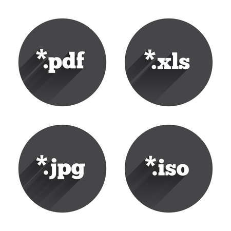 xls: Document icons. File extensions symbols. PDF, XLS, JPG and ISO virtual drive signs. Circles buttons with long flat shadow. Vector Illustration