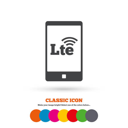 longterm: 4G LTE sign in smartphone icon. Long-Term evolution sign. Wireless communication technology symbol. Classic flat icon. Colored circles. Vector
