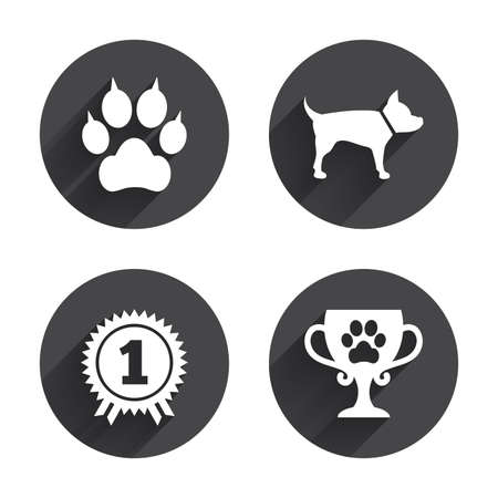 clutches: Pets icons. Cat paw with clutches sign. Winner cup and medal symbol. Dog silhouette. Circles buttons with long flat shadow. Vector