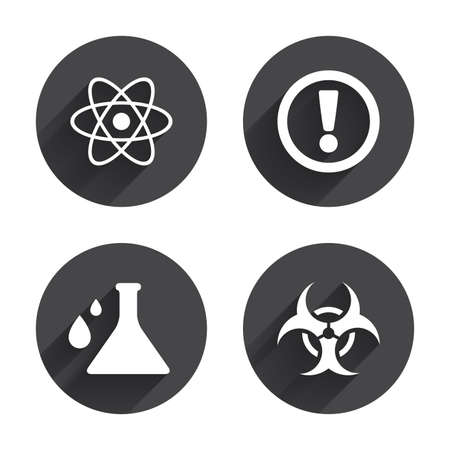 Attention And Biohazard Icons Chemistry Flask Sign Atom Symbol