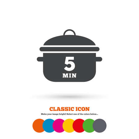 boil: Boil 5 minutes. Cooking pan sign icon. Stew food symbol. Classic flat icon. Colored circles. Vector Illustration