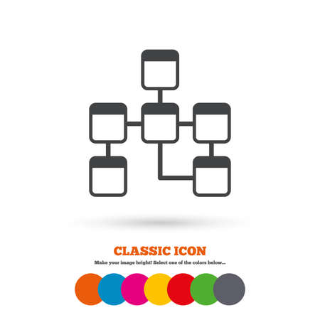 schema: Database sign icon. Relational database schema symbol. Classic flat icon. Colored circles. Vector
