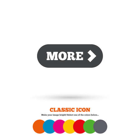 details: More with arrow sign icon. Details symbol. Website navigation. Classic flat icon. Colored circles. Vector Illustration