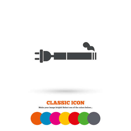vaporizer: Smoking sign icon. E-Cigarette symbol. Electronic cigarette. Classic flat icon. Colored circles. Vector