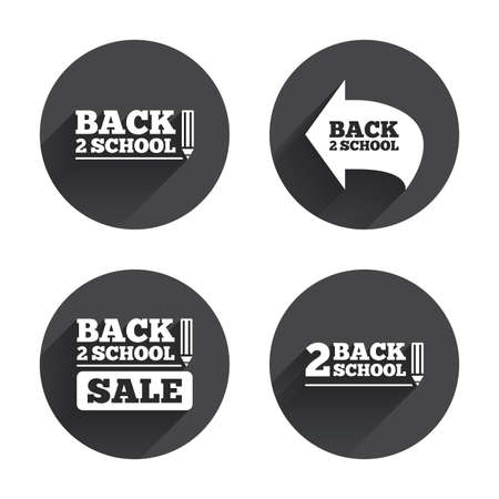 after school: Back to school sale icons. Studies after the holidays signs. Pencil symbol. Circles buttons with long flat shadow. Vector