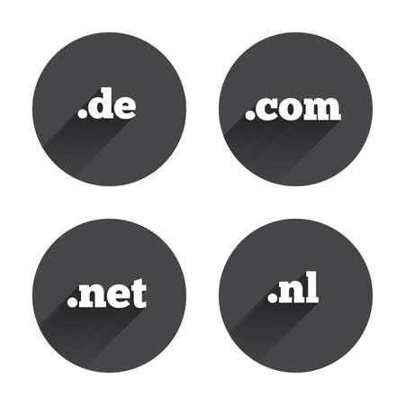 nl: Top-level internet domain icons. De, Com, Net and Nl symbols. Unique national DNS names. Circles buttons with long flat shadow. Vector Illustration