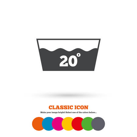 washable: Wash icon. Machine washable at 20 degrees symbol. Classic flat icon. Colored circles. Vector