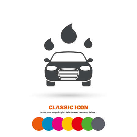 automated: Car wash icon. Automated teller carwash symbol. Water drops signs. Classic flat icon. Colored circles. Vector Illustration