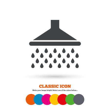 douche: Shower sign icon. Douche with water drops symbol. Classic flat icon. Colored circles. Vector