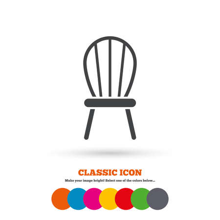 classic furniture: Chair sign icon. Modern furniture symbol. Classic flat icon. Colored circles. Vector
