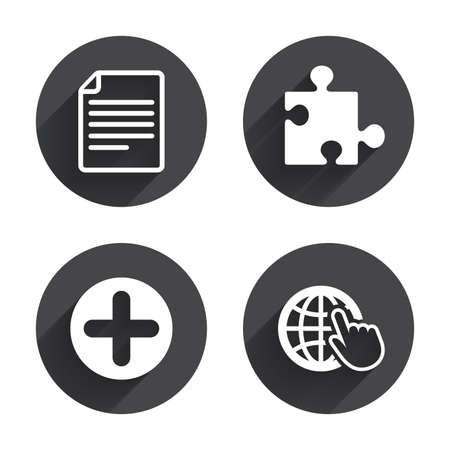 puzzle globe: Plus add circle and puzzle piece icons. Document file and globe with hand pointer sign symbols. Circles buttons with long flat shadow. Vector