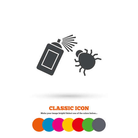acarus: Bug disinfection sign icon. Fumigation symbol. Bug sprayer. Classic flat icon. Colored circles. Vector