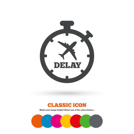 the delayed: Delayed flight sign icon. Airport delay timer symbol. Airplane icon. Classic flat icon. Colored circles. Vector