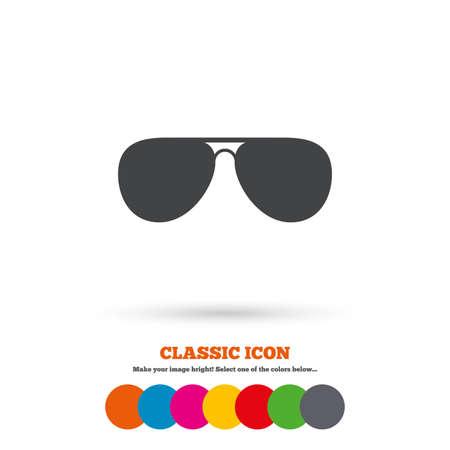 glasses icon: Aviator sunglasses sign icon. Pilot glasses button. Classic flat icon. Colored circles. Vector