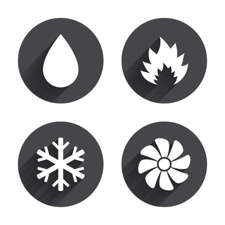 water supply: HVAC icons. Heating, ventilating and air conditioning symbols. Water supply. Climate control technology signs. Circles buttons with long flat shadow. Vector