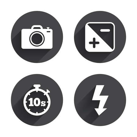 seconds: Photo camera icon. Flash light and exposure symbols. Stopwatch timer 10 seconds sign. Circles buttons with long flat shadow. Vector