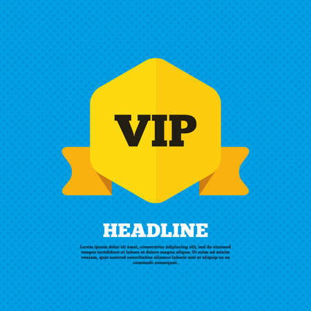 very important person: Vip sign icon. Membership symbol. Very important person. Yellow label tag. Circles seamless pattern on back. Vector