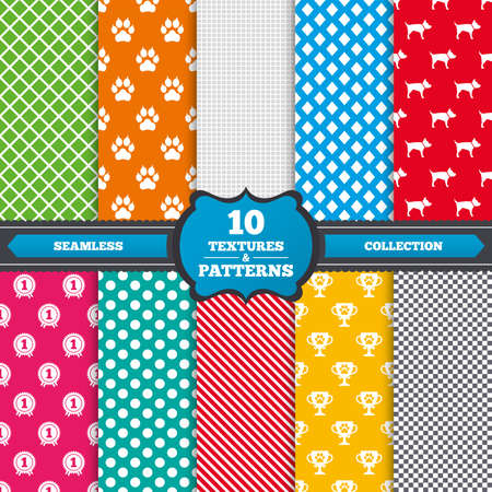 clutches: Seamless textures. Pets icons. Cat paw with clutches sign. Winner cup and medal symbol. Dog silhouette. Endless patterns with circles, diagonal lines, chess cell. Vector