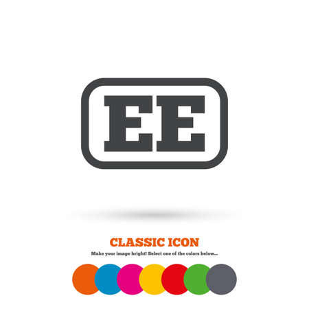 ee: Estonian language sign icon. EE translation symbol with frame. Classic flat icon. Colored circles. Vector Illustration
