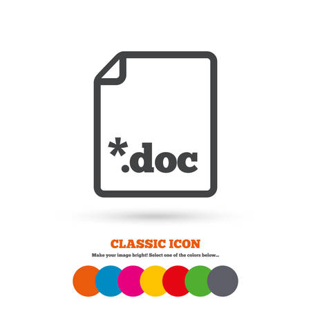 file extension: File document icon. Download doc button. Doc file extension symbol. Classic flat icon. Colored circles. Vector Illustration
