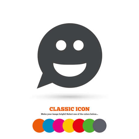 smile icon: Smile face sign icon. Happy smiley chat symbol. Speech bubble. Classic flat icon. Colored circles. Vector